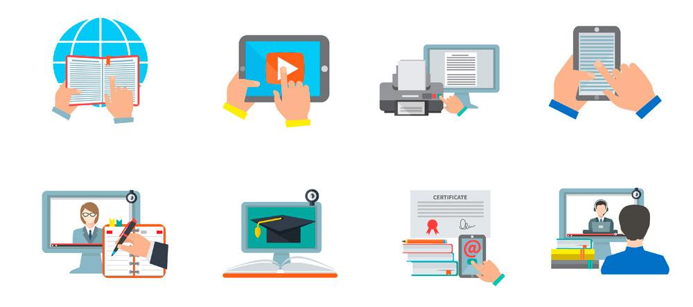 iconos que representan plataforma de formación online